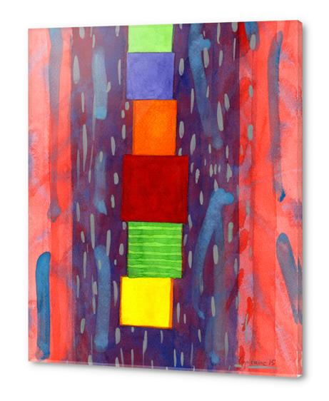Colorful piled Cubes within free Painting Acrylic prints by Heidi Capitaine