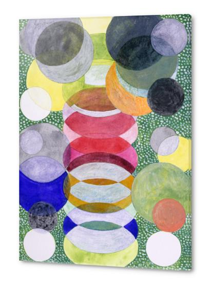 Overlapping Ovals and Circles on Green Dotted Ground Acrylic prints by Heidi Capitaine