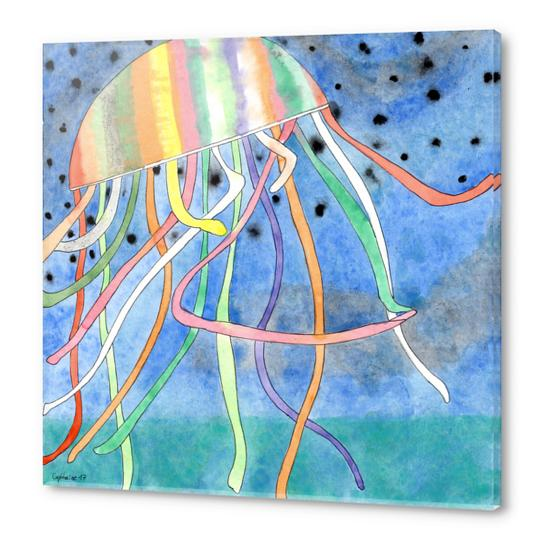Rainbow Colored Jelly Fish  Acrylic prints by Heidi Capitaine