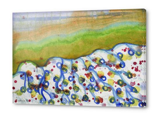 Curved Hill with Blue Rings Acrylic prints by Heidi Capitaine