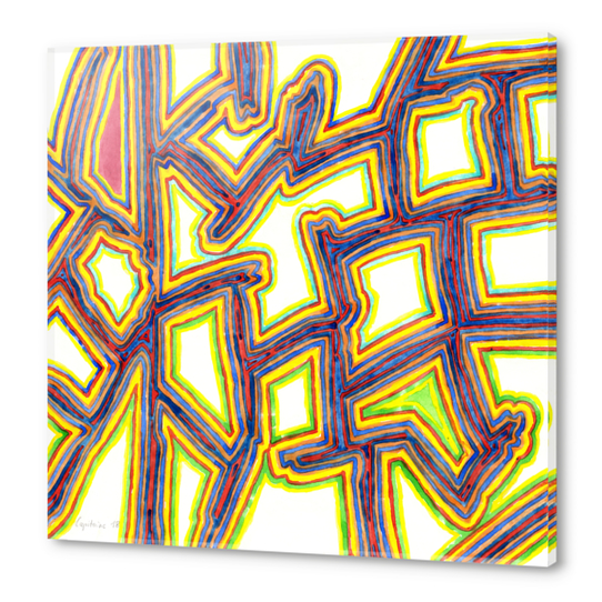 Outlined Fancy White Shapes Pattern  Acrylic prints by Heidi Capitaine