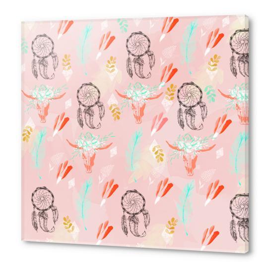 Bohemian pink pattern Acrylic prints by mmartabc