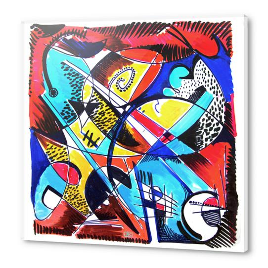 Construction rouge et bleue Acrylic prints by Denis Chobelet