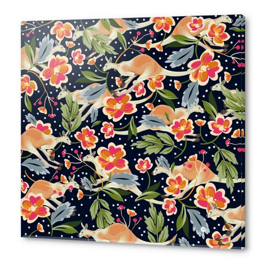 Pattern flowers and kangaroo Acrylic prints by mmartabc