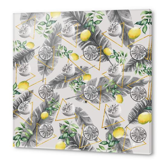 Pattern triangles with lemons Acrylic prints by mmartabc