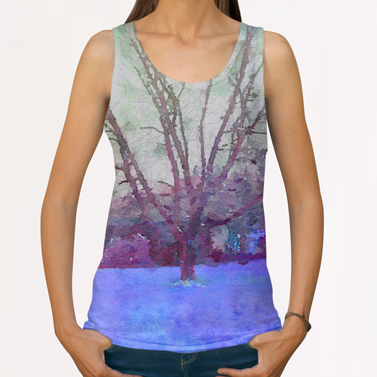 Cerisier en hiver All Over Print Tanks by Malixx