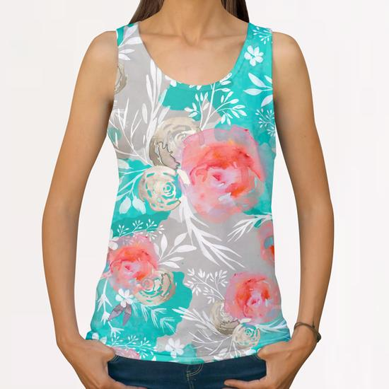 Watercolor Flourish All Over Print Tanks by mmartabc