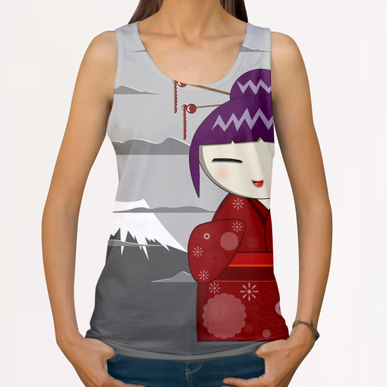 Fuji kokeshi All Over Print Tanks by PIEL Design