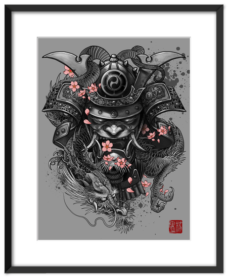 Dragon samurai art prints by elvintattoo artsider