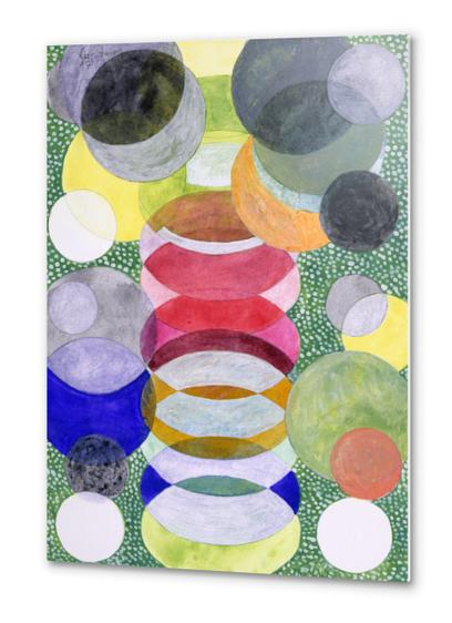 Overlapping Ovals and Circles on Green Dotted Ground Metal prints by Heidi Capitaine