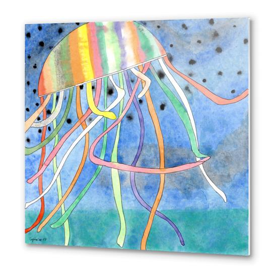 Rainbow Colored Jelly Fish  Metal prints by Heidi Capitaine