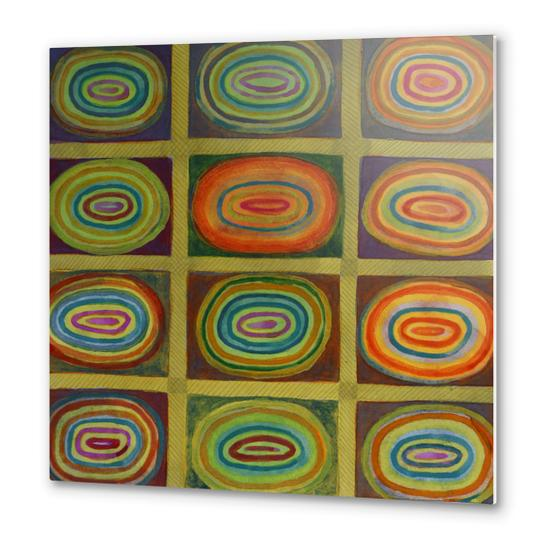 Ringed Ovals within Hatched Grid Metal prints by Heidi Capitaine