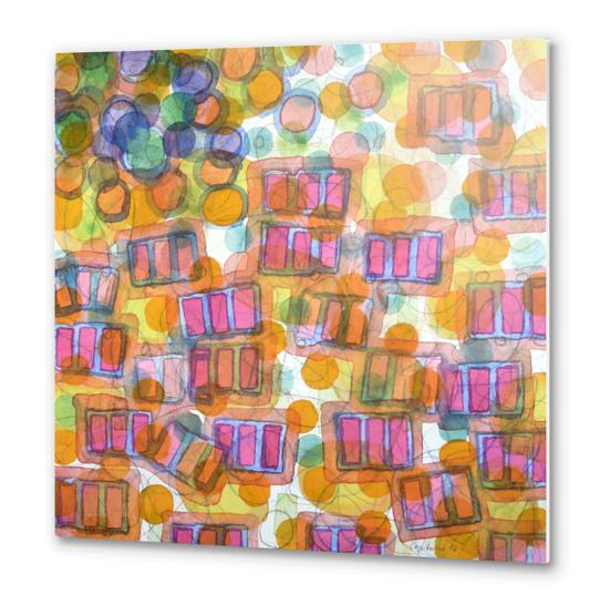 Happy Pattern with Pink Blocks Metal prints by Heidi Capitaine