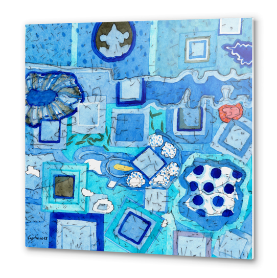 Blue Room with Blue Frames Metal prints by Heidi Capitaine