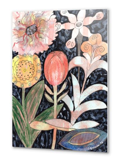 Mixed Flowers with Tulip on Black  Metal prints by Heidi Capitaine