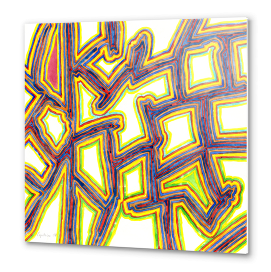 Outlined Fancy White Shapes Pattern  Metal prints by Heidi Capitaine