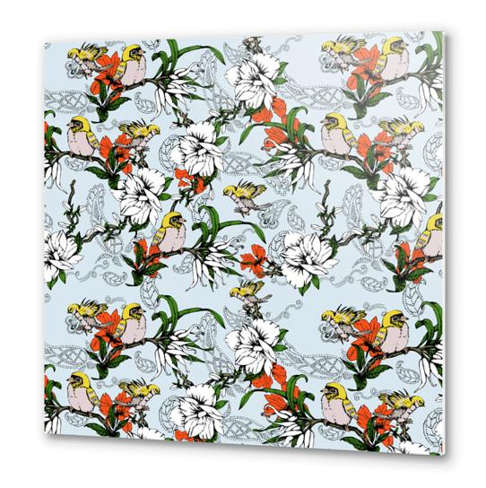 The Birds and the Paisley Garden Metal prints by mmartabc