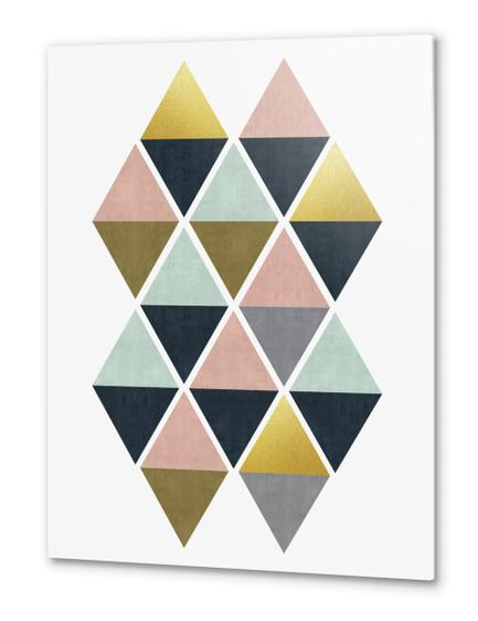 Colorful and golden triangles Metal prints by Vitor Costa
