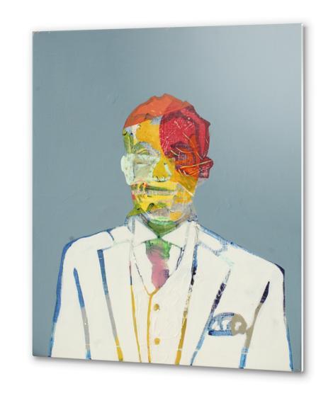 Auto-portrait Blanc Metal prints by Pierre-Michael Faure