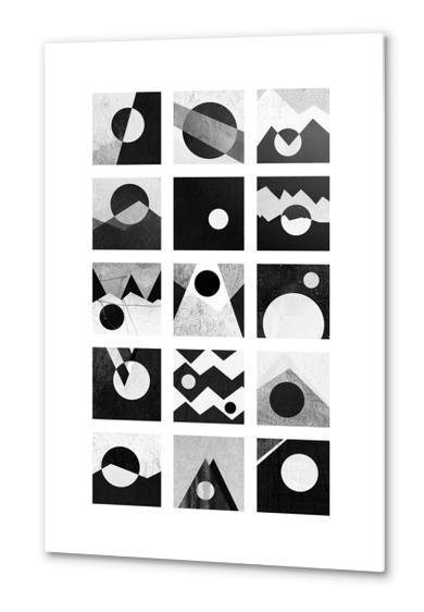 Black & white / Circles & squares Metal prints by Elisabeth Fredriksson