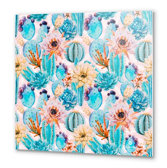 Cactus and flowers pattern Metal prints by mmartabc
