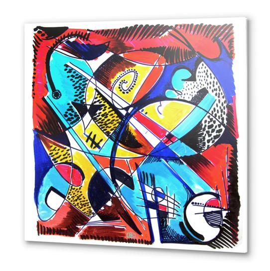 Construction rouge et bleue Metal prints by Denis Chobelet
