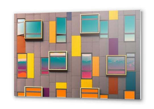 Facade in front of the mountains Metal prints by fokafoka