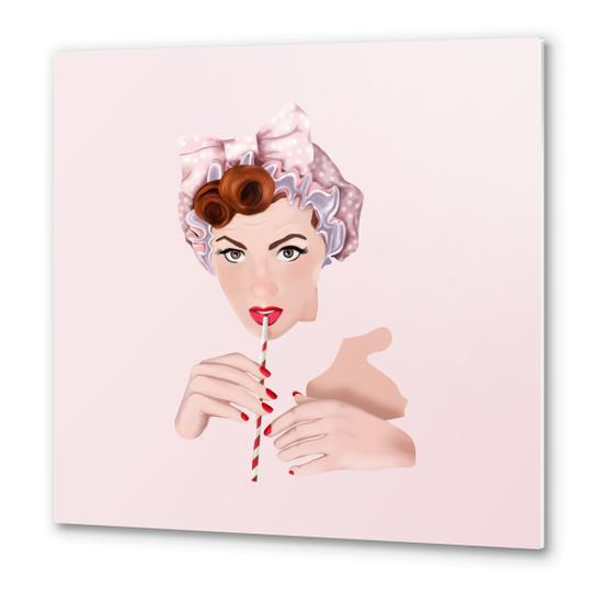 Girl pin up pink Metal prints by mmartabc