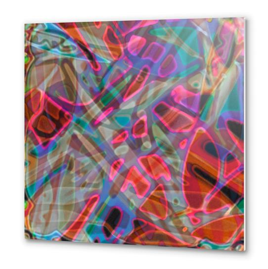 Colorful Abstract Stained Glass G297 Metal prints by MedusArt
