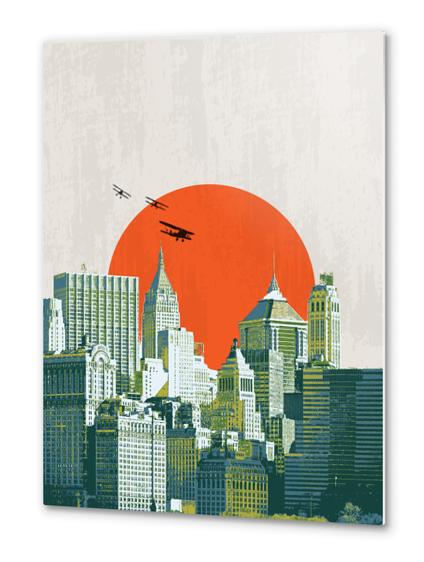 Red sun on NY Metal prints by tzigone