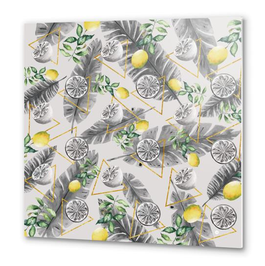 Pattern triangles with lemons Metal prints by mmartabc