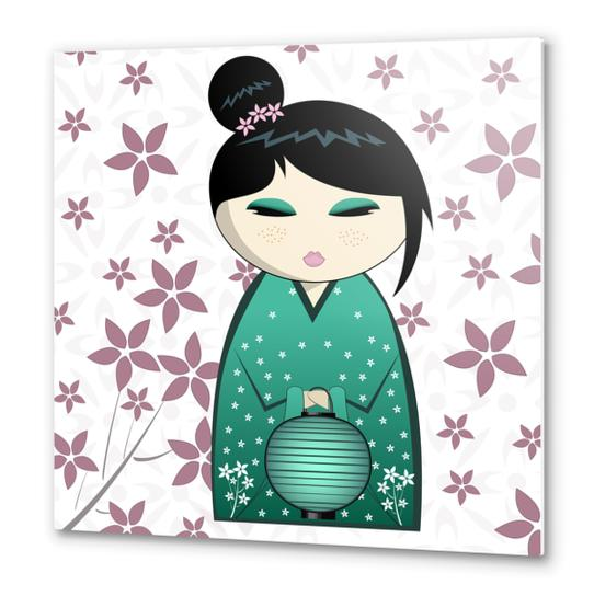 Pink flower kokeshi Metal prints by PIEL Design