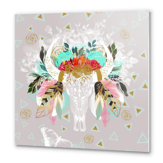 Skull fantasy boho Metal prints by mmartabc