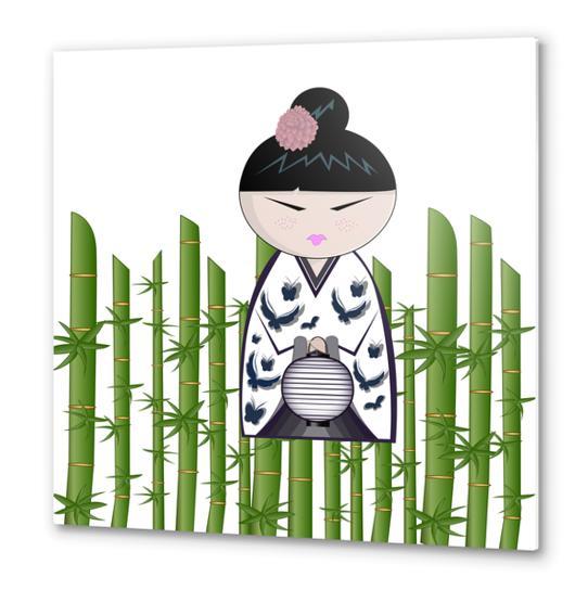 Bamboo kokeshi Metal prints by PIEL Design