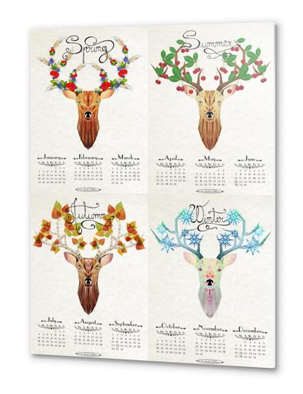 deer calendar 2015 Metal prints by Manoou