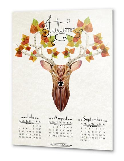 deer autumn Metal prints by Manoou