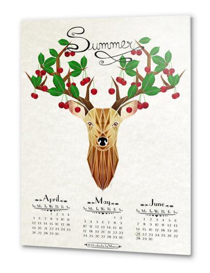 deer summer Metal prints by Manoou