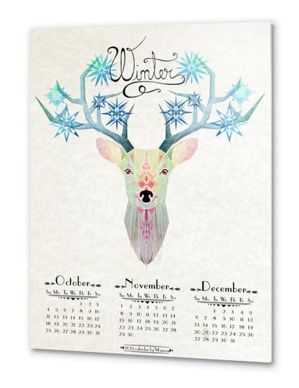 deer winter Metal prints by Manoou
