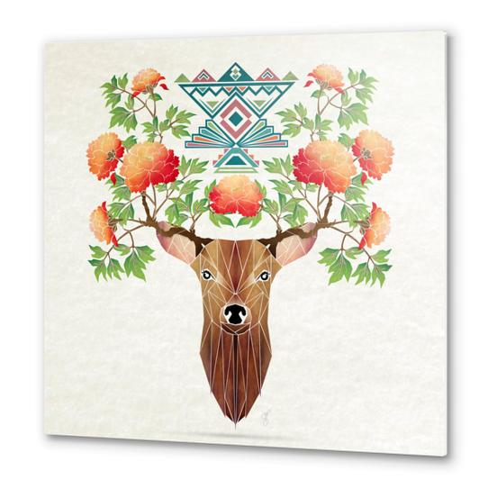 deer flowers Metal prints by Manoou