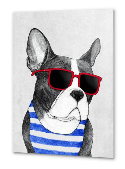 Frenchie Summer Style Metal prints by Barruf