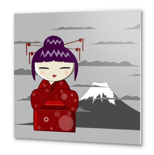 Fuji kokeshi Metal prints by PIEL Design