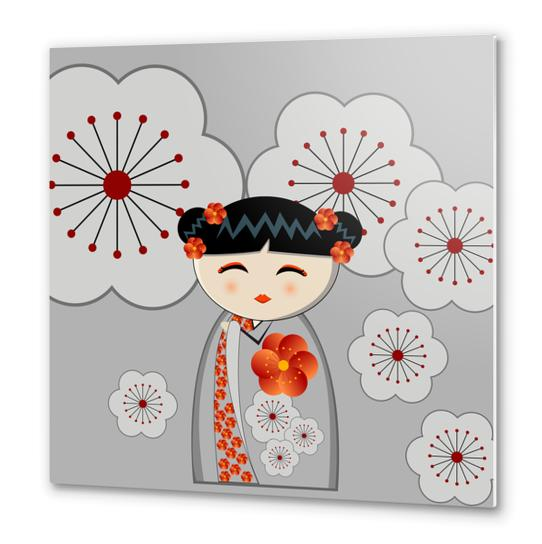 Orange and grey kokeshi Metal prints by PIEL Design