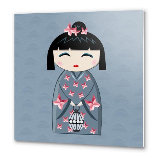 Pink butterfly Metal prints by PIEL Design