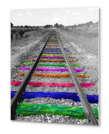 Rainbow Railway Metal prints by Ivailo K