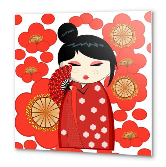 Red flower kokeshi Metal prints by PIEL Design
