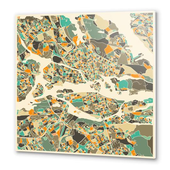 STOCKHOLM MAP 1 Metal prints by Jazzberry Blue