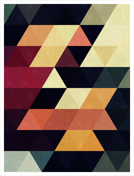Pattern cosmic triangles Art Print by Vitor Costa