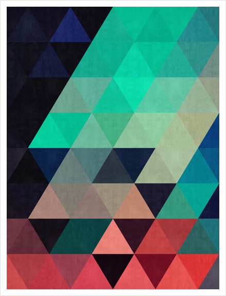 Pattern cosmic triangles I Art Print by Vitor Costa