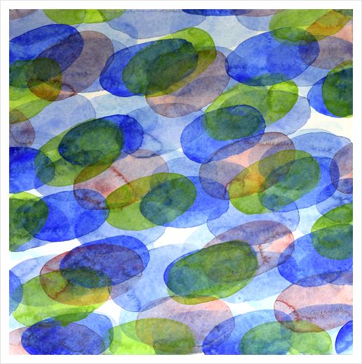 Green Blue Red Ovals Art Print by Heidi Capitaine