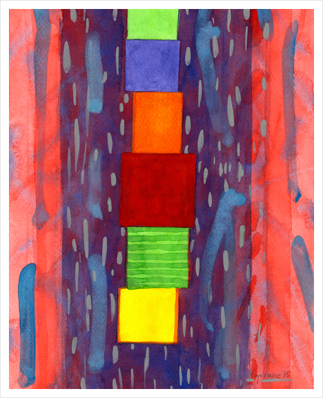 Colorful piled Cubes within free Painting Art Print by Heidi Capitaine